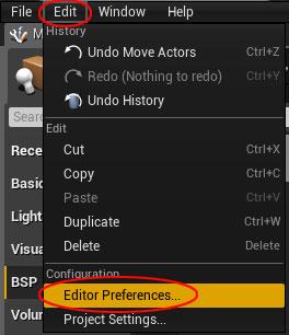 Unreal Engine Editor Preferences Menu