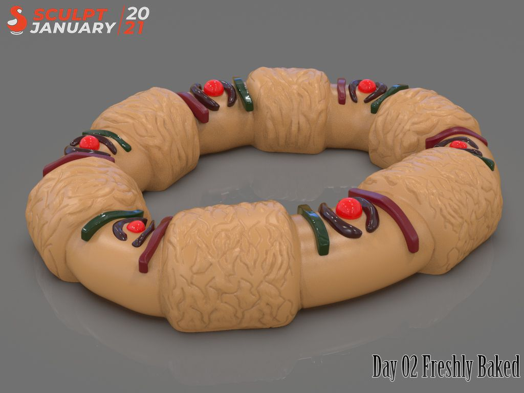 Stylized King Cake Day 02 Sculptjanuary 2021 Render jpg