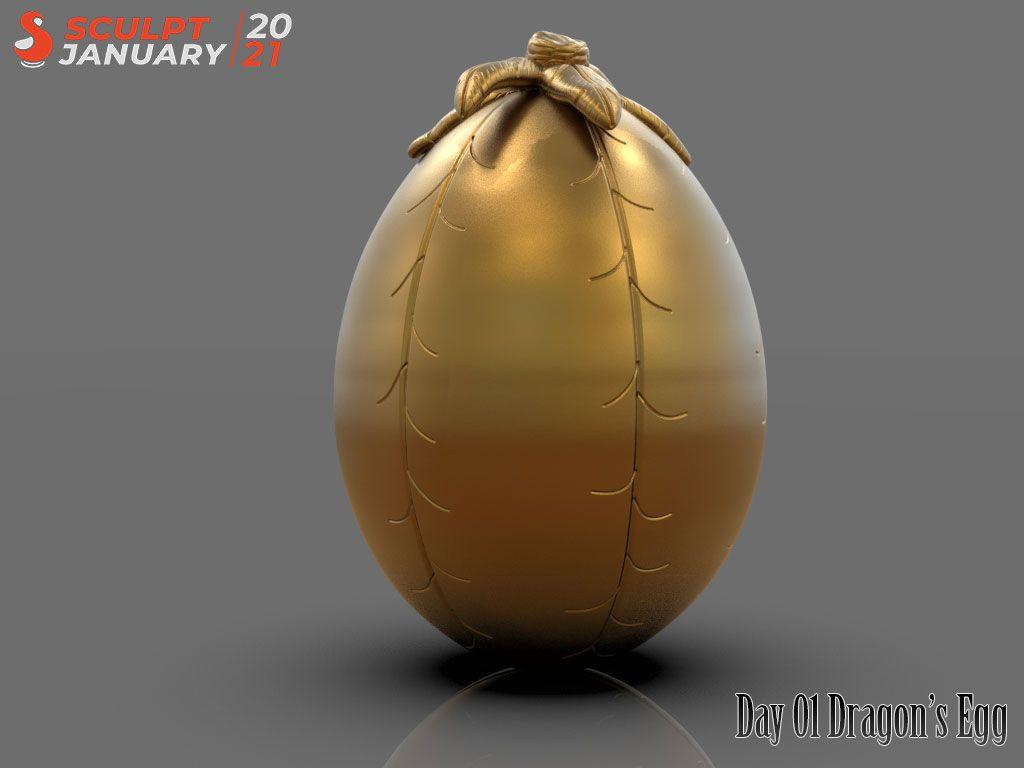 Dragon Egg Sculptjanuary 2021 Render Day 01 jpg