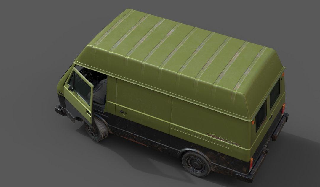 Lowpoly Classic Van Green and Black3 jpg