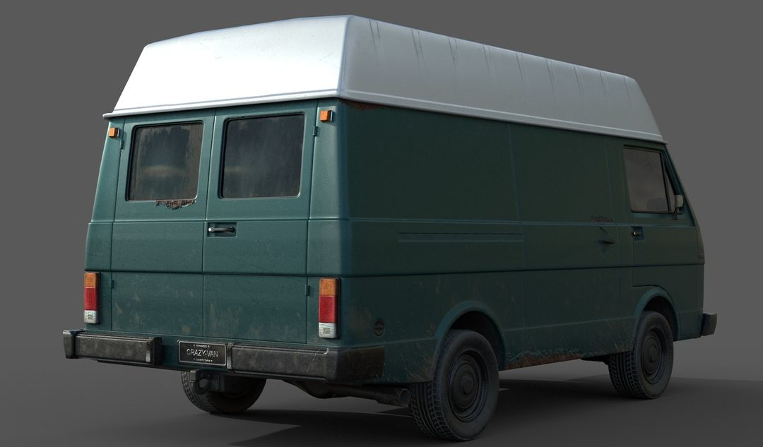 Lowpoly Classic Van White and Blue2 jpg