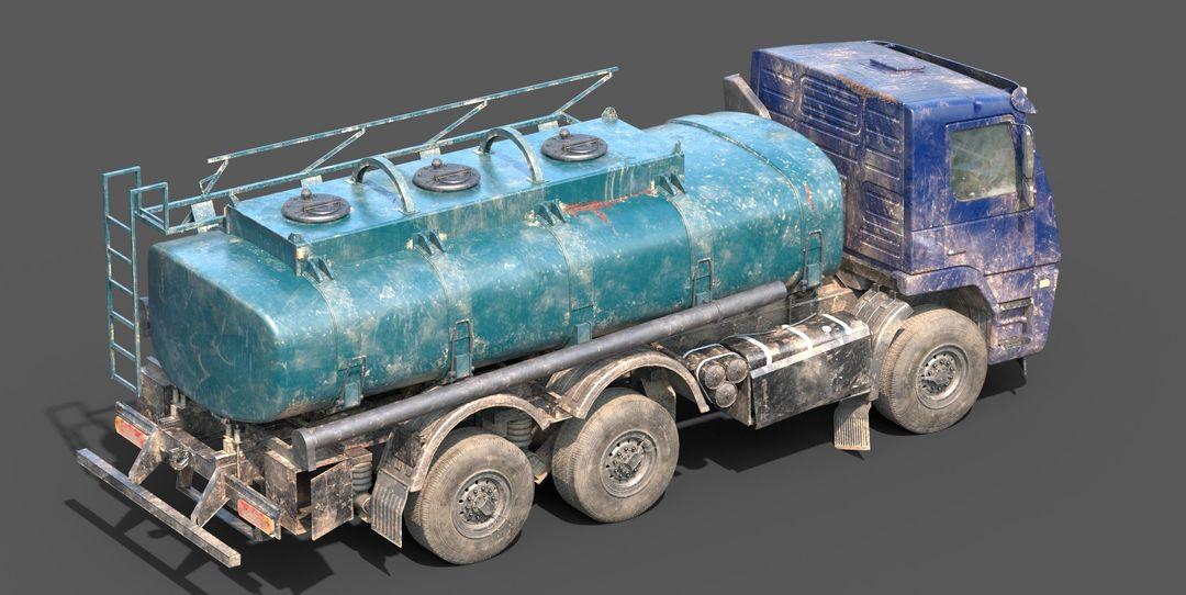 Abandoned Lowpoly Cistern Tank Truck 3D Model a3 jpg