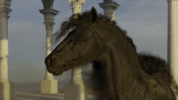 3D Animation. Dancing horse.