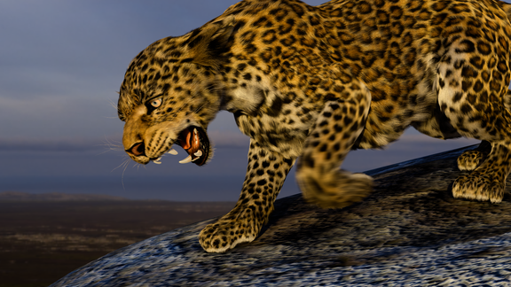 Creatures animation 3D. Leopard with cub.