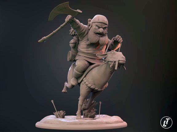 """Baruk and the goat"" Dwarf rider - 75mm miniature"
