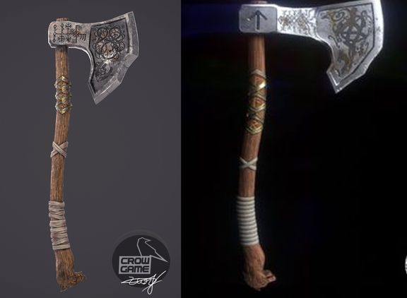 Weapons with 4k texture retopogy resolved and render 4k