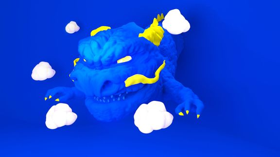 Blue Dragon in the Wall Clouds