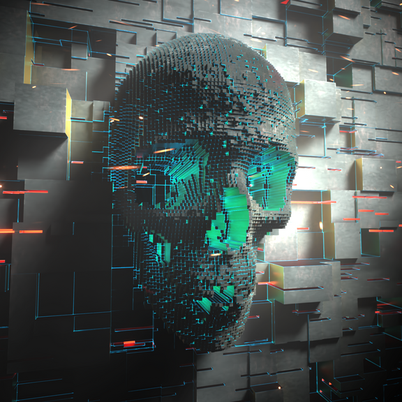 Scifi Block Skull